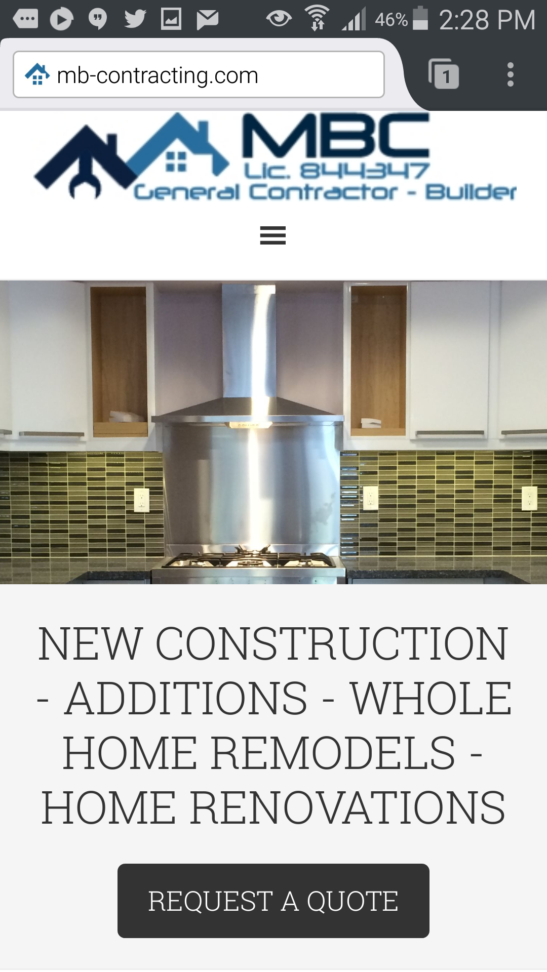Construction mobile site example