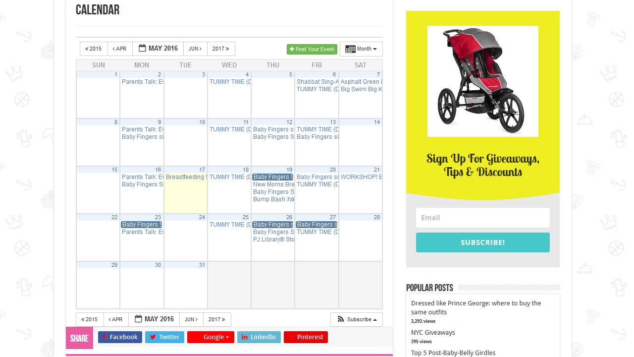 Online calendar example